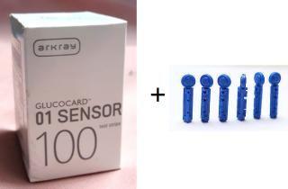 Arkray Glucocard 100 Test Strips+100 Round Lancets for Glucocard 01 Sensor Meter