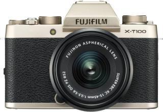 Fujifilm X Series X-T100 Mirrorless Camera Body with XC 15 - 45 mm Lens F3.5 - 5.6 OIS PZ(Gold, Black)