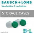 Bausch & Lomb Lens Case yearly Contact Lens (0, White & Green, Pack of 2)