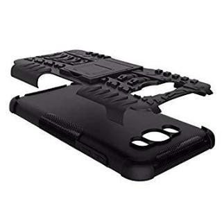 Qzey Kick Stand Hard Dual Rugged Armor Hybrid Bumper Back Case Cover for Samsung Galaxy Grand 2 - Black