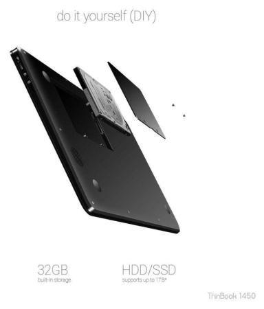 RDP Thinbook ThinBook 1450-EC1 Notebook Intel Atom 2 GB 35 81cm(14 1)  Windows 10 Pro Integrated Graphics Black