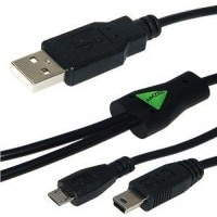 USB to Dual Mini USB and Micro USB Y Splitter Charging Handy Cable