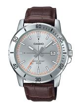 CASIO Men Silver-Toned & Brown Analogue Watch A1739