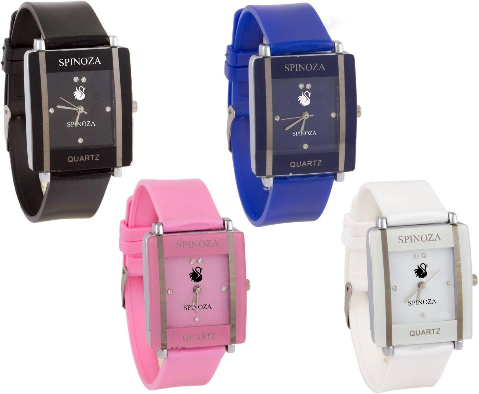 SPINOZA Glory multicolors square shape proffessional and beautiful women combo X70 Watch - For Girls