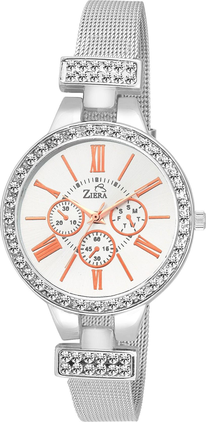 Ziera ZR8032 Special dezined collection Silver and Ross gold Watch - For Women