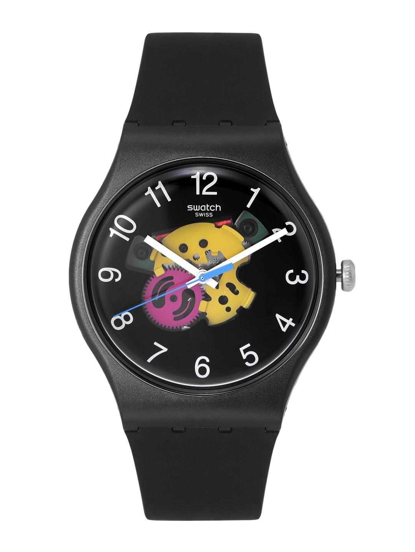 Swatch Unisex Black & Yellow Swiss Made Analogue Watch SUOB140