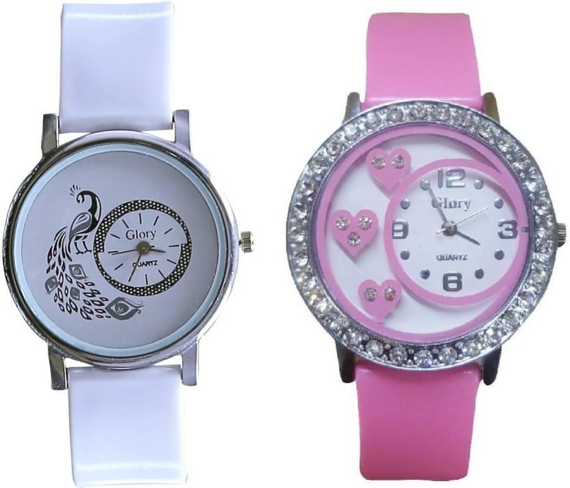 Glory Round Dial Pink White pu Analog Watch For Women(Pack of 2) 6 MONTH WARRANTY