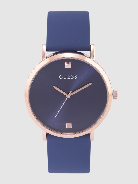 GUESS Men Navy Blue Diamond-Studded Analogue Watch W1264G3