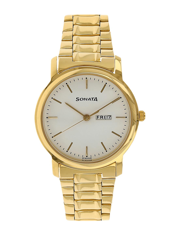 Sonata Men Gold-Toned & White Analogue Watch