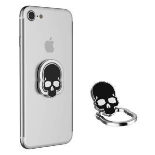 Metal Body Skull Designed Phone Ring Holder / Finger Ring Grip Stand for All Mobile Phone And Tablet (Universal) Black