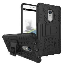 Qzey Tough Hybrid Flip Kick Stand Spider Hard Dual Shock Proof Rugged Armor Bumper Back Cover For Xiaomi Redmi Note 4 - Rugged Black