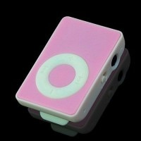 USB Rechargeable Portable Mini MP3 Player with Micro SD/TF Card Slot - Pink